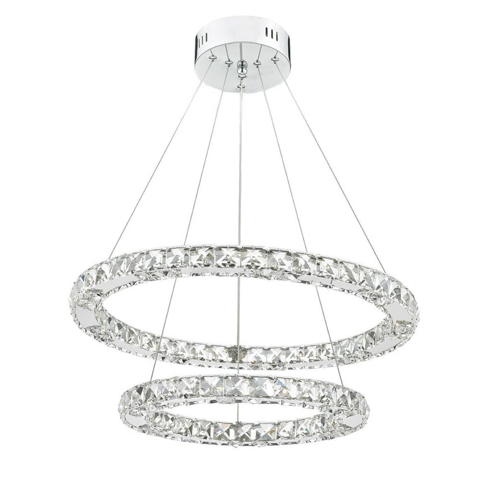 Roma Double Tier Pendant Crystal Polished Chrome Led Dimmable (Double Insulated) BXROM2550-17
